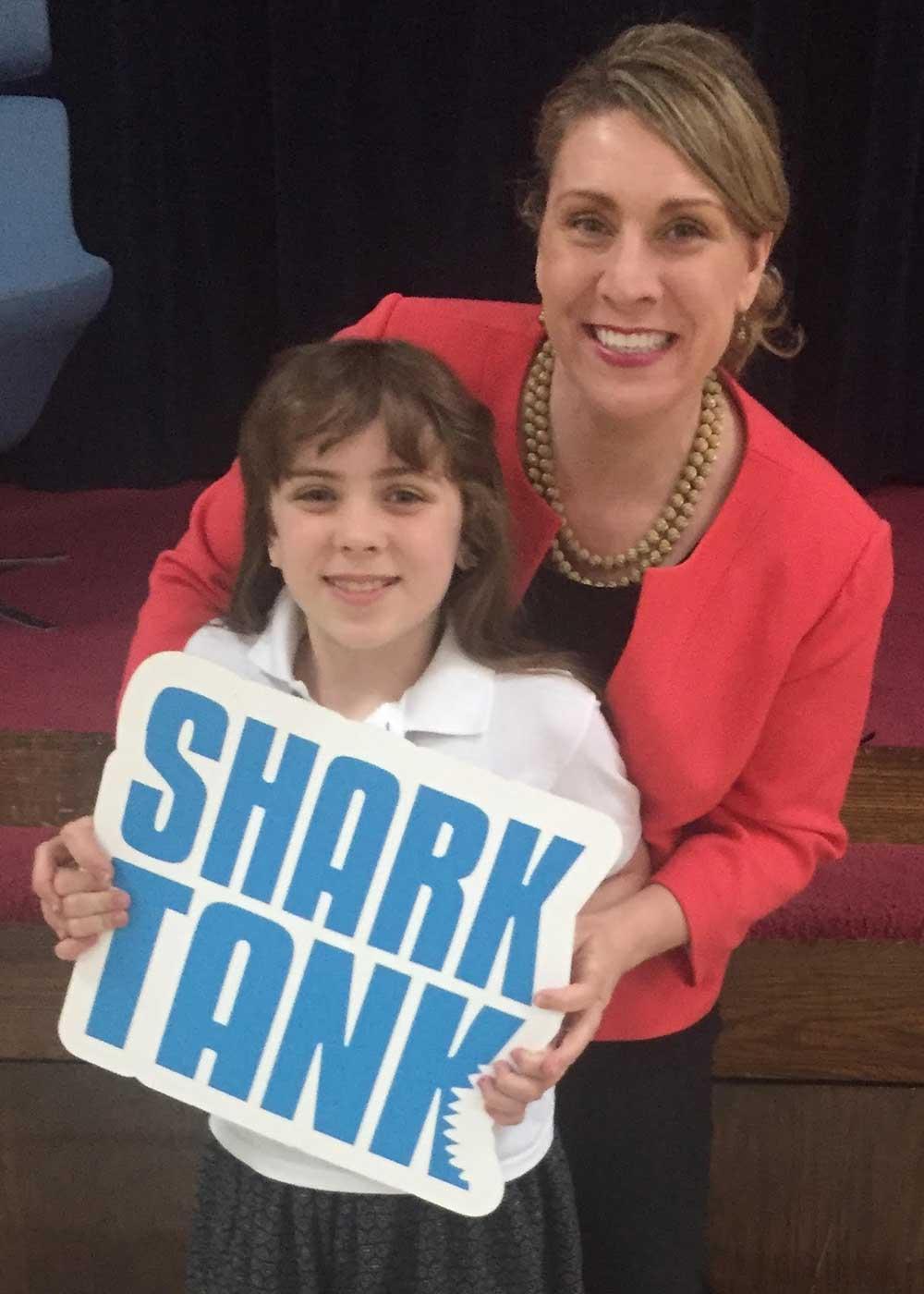 Bridget Verdun and her daughter on the set of Shark Tank