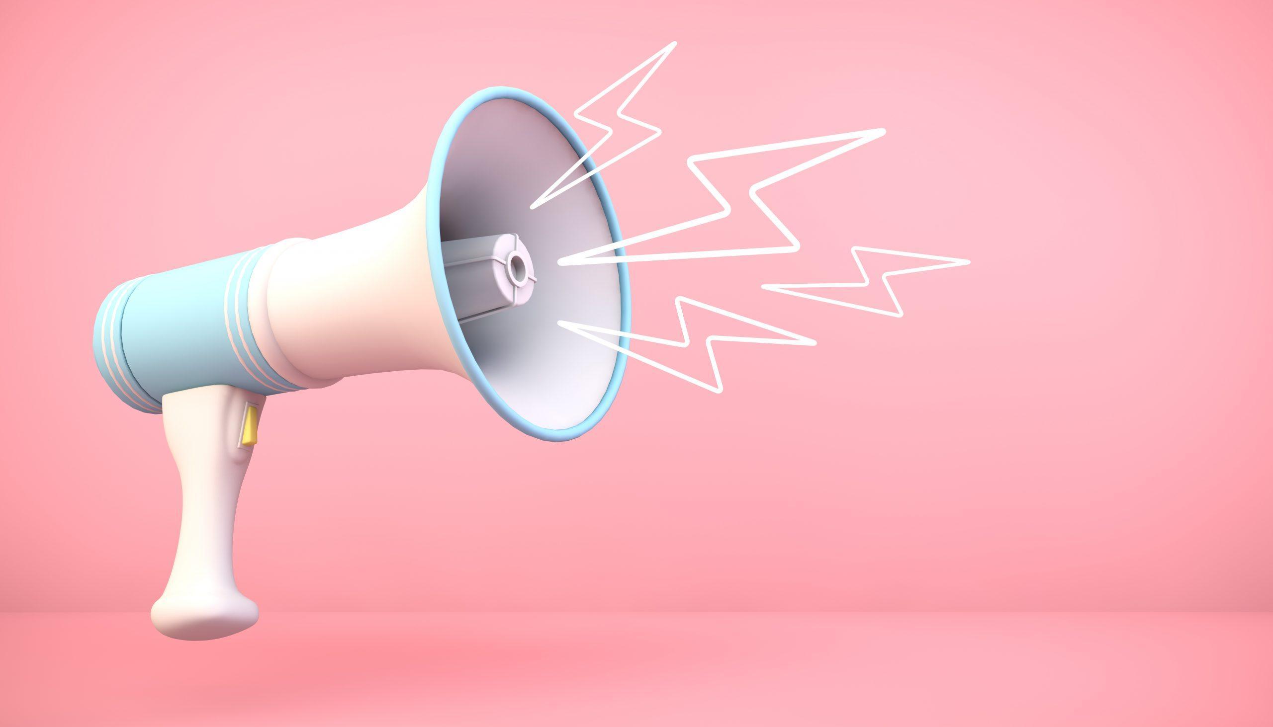 3d rendering megaphone on pink background with lightnings Illustrations
