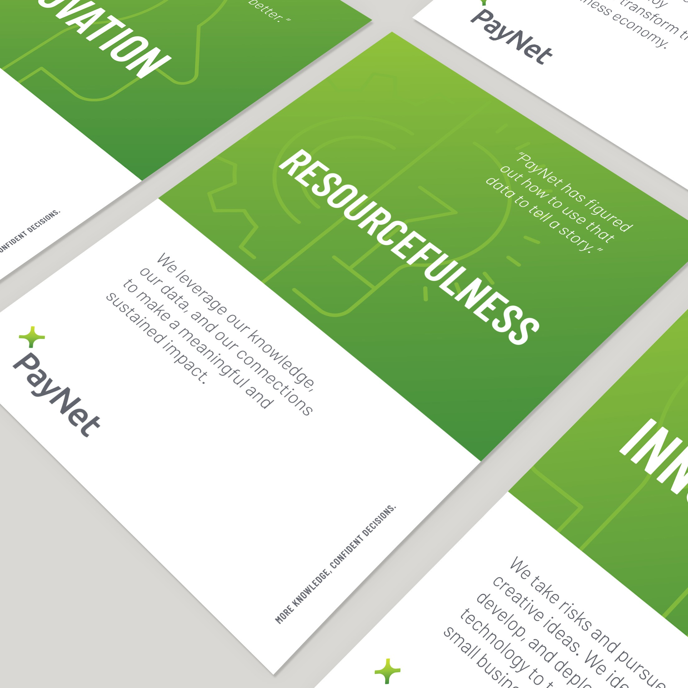 A repeating grid of one page informational sheets featuring client PayNet and their mission statement